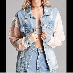 NWT Forever 21 REHAB Sequinned Denim Jacket S/M